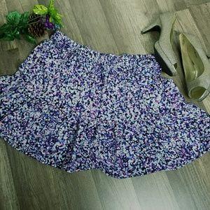 Lorimer NYC blue/purple dot print flippy skirt XL